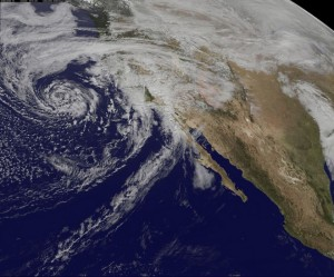 NOAA's GOES-West satellite took this image of a Pacific storm approaching California on February 28.