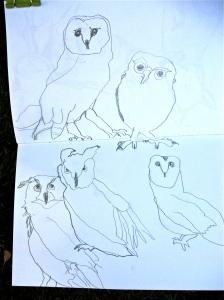 Non-dominant hand pencil sketches