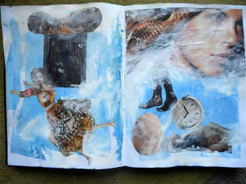 Finished page - I lost interest in the left side! Paint, collage, pastel