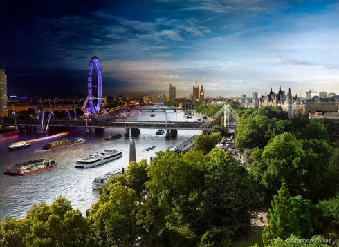 View from The Savoy, London, Day to Night, 2013. Courtesy of Stephen Wilkes