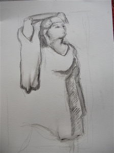 Water-color pencil, 20 minute pose