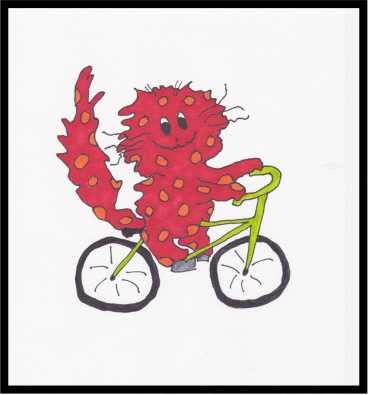 Riding bicycle, dark orange copy:border